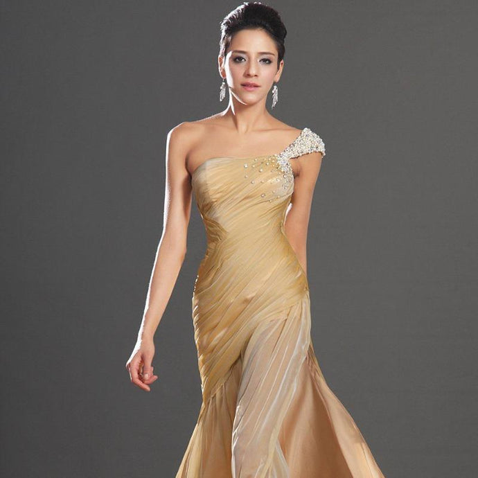 New Gorgeous High Slit Elegant Formal One Shoulder Court Train Champagne Chiffon Evening Prom Dress