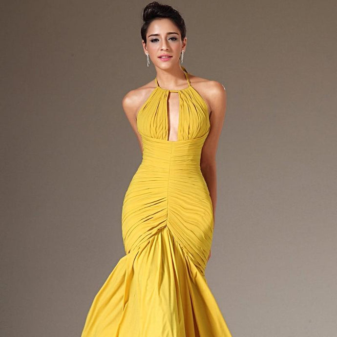 New Halter Yellow Chiffon Pleated Formal Elegant Evening Prom Dresses Long Evening Gown