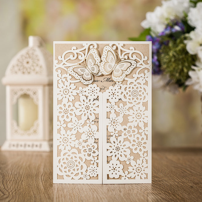 White Laser Cut Wedding Invitations Card With Gold Butterfly Hollow Flora Design for Bridal Shower Party CW7085W