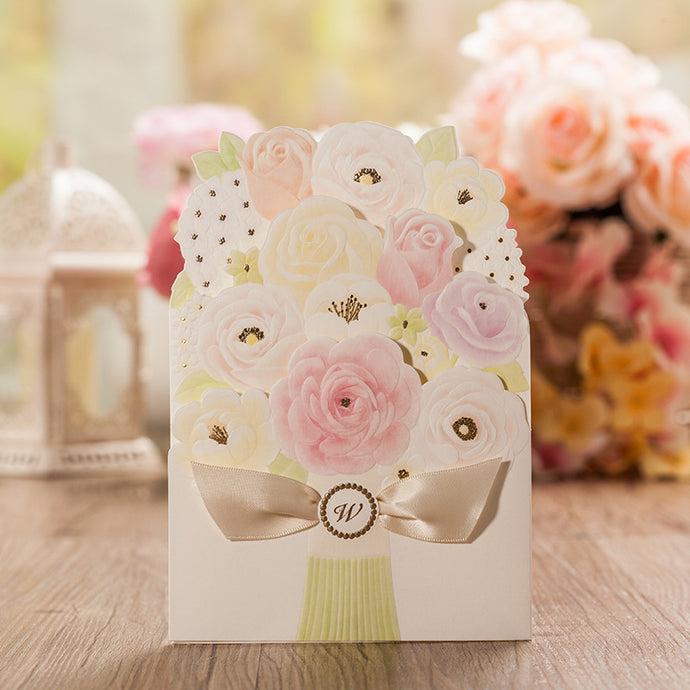 100pcs Bouquet Wedding Invitations Free Customize Inner Sheet Wedding Cards Invitation Card for Wedding Supply CW5139