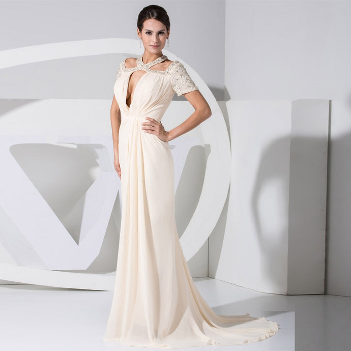 Elegant New Fashion A Line Beaded Keyhole Halter Evening Party Gown
