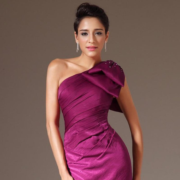 New Stylish One Shoulder Evening Gown Evening Prom Bridesmaid Dresses Burgundy