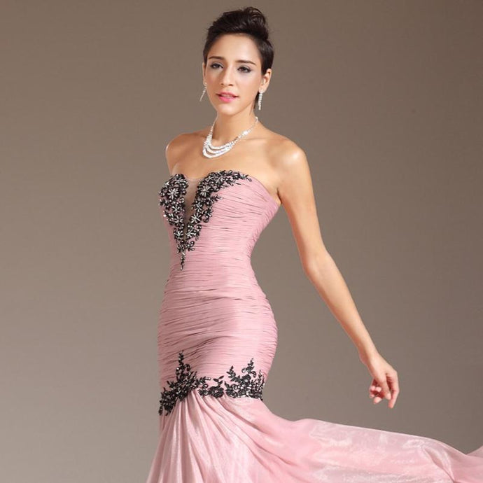 New Strapless Straight Gown Appliques Floor-Length Silk Chiffon Prom Dress