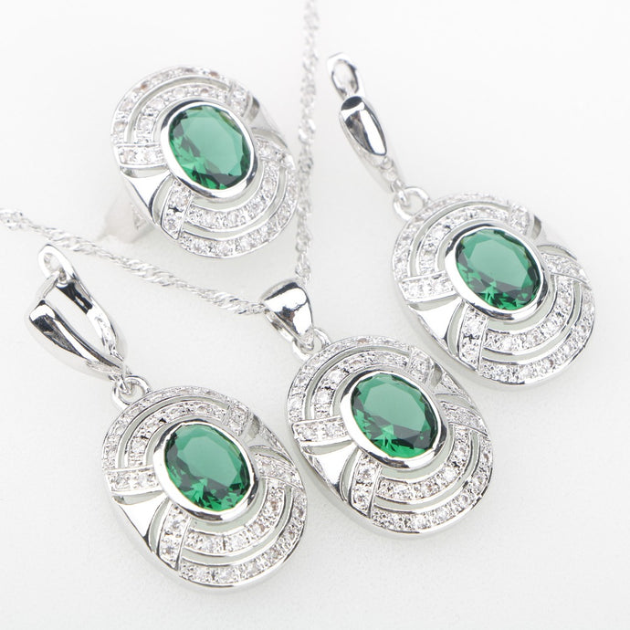 Charms Green Cubic Zirconia White Stones Silver 925 Jewelry Sets Earrings/Pendant/Necklace/Rings For Women Punk Style