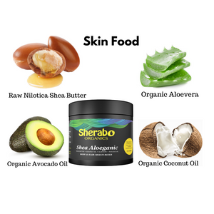 Shea Butter whipped with organic Aloe Vera, Coconut oil and Avocado oil. Its intense moisture deeply hydrates, nourishes and revitalizes skin cells.  Feed your skin with this vegan butter that has 0% water, alcohol or chemicals.
