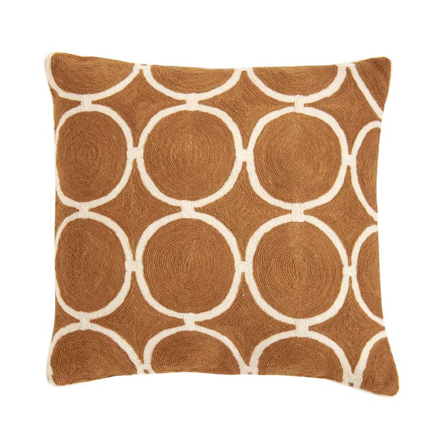 CIRCLE DECORATIVE THROW PILLOWS AMBER & WHITE (SET OF2)