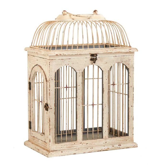 CREAM ANTIQUED WOOD BIRDCAGE