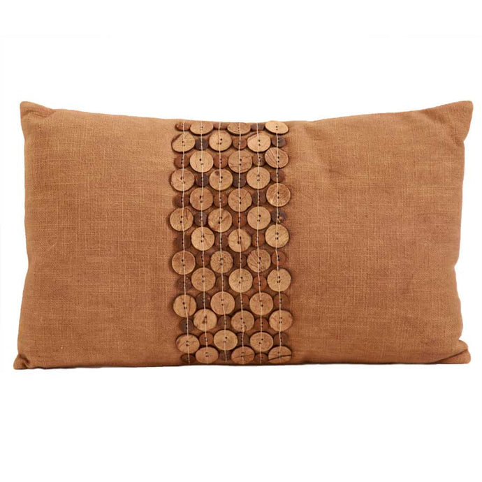 BROWN TEXTURED PILLOW WITH BUTTONS (SET OF 2)