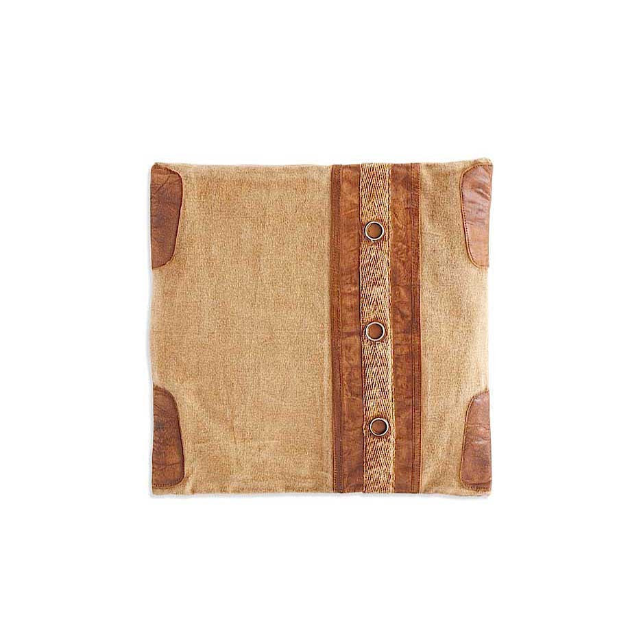 Square Repurposed Canvas Pillow with Leather Trim ( set of 2)