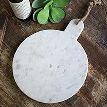 ROUND WHITE MARBLE CUTTING BOARD WITH JUTE HANGER