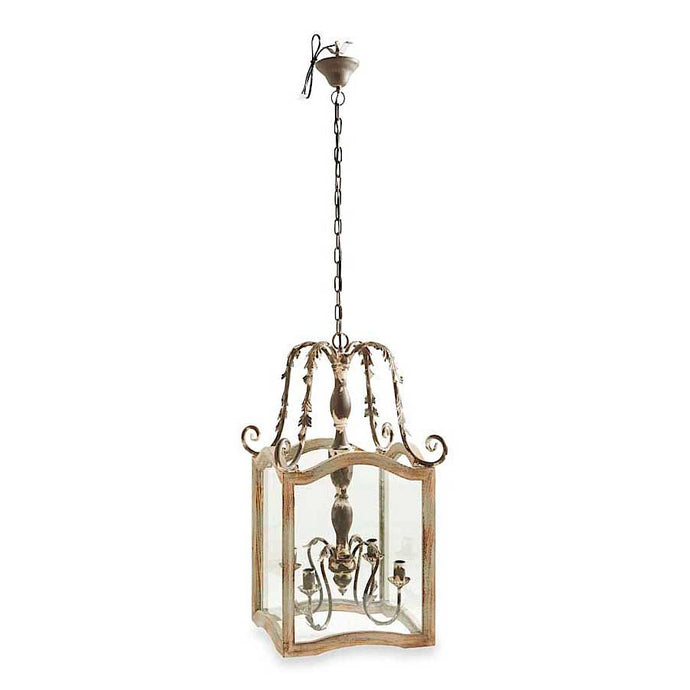 RUSTIC CREAM WOOD & METAL CHANDALIER