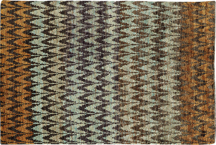 BROWN AND BLUE SOFT JUTE AREA RUG  3' 6