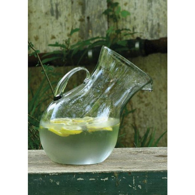 LARGE GLASS TILTED PITCHER