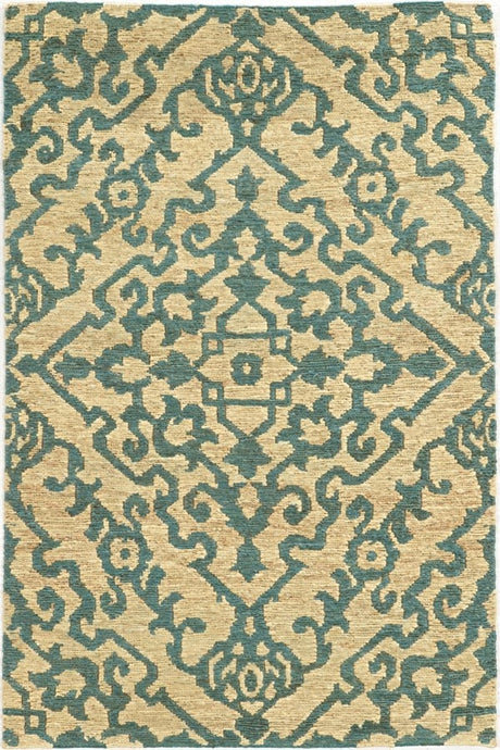 BEIGE AND BLUE JUTE AREA RUG  3'6