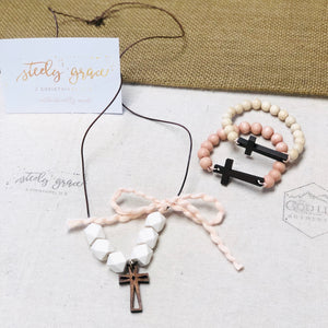 Handcrafted Wood Cross Necklace | Steely Grace