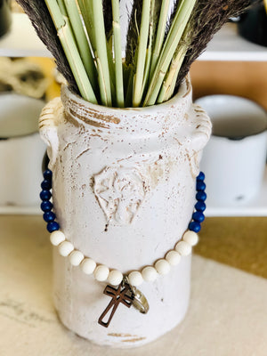 Royal Blue and White Beaded Cross Lanyard