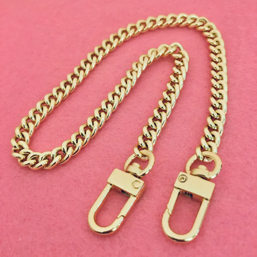 Mini Curb 7mm Bag Chain Light Gold
