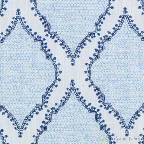 Aztec Cobalt Prints Fabric - Charleston Fabric