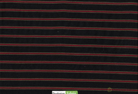 Black And Red Stripe Cotton Fabric