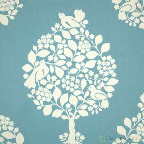 Duralee Tree Of Life Blue/ivory 72061 Fabric