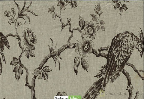 Golding Avalon Printed Cotton Linen Drapery Fabric In Espresso