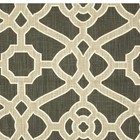 P Kaufmann Pavillion Fretwork Slub Noir Geometric Fabric