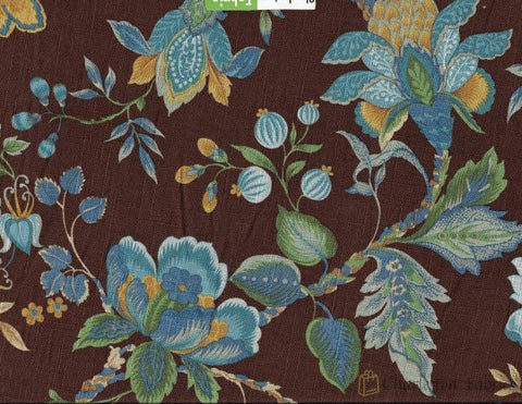 Paula Cir Floarl Fabric By Edgar Blue Brown Gold