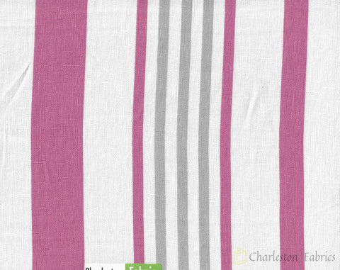 Pink White Grey Stripe Upholstery Drapery Fabric