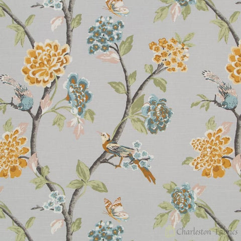 Robert Allen Helene Floral French Grey Fabric Fabrics