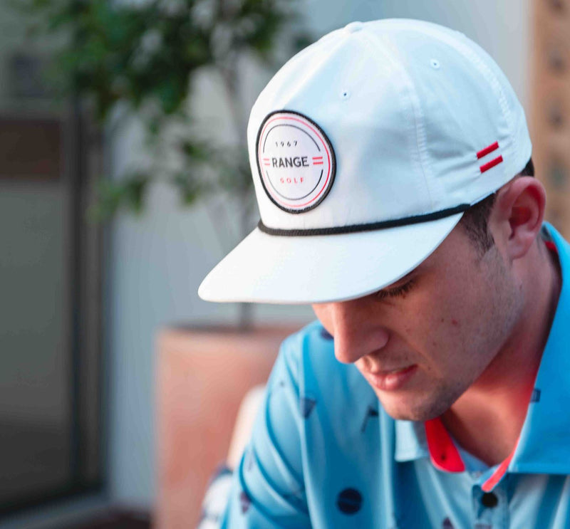 ROPE A DOPE | WHITE FLAT BILL GOLF HAT