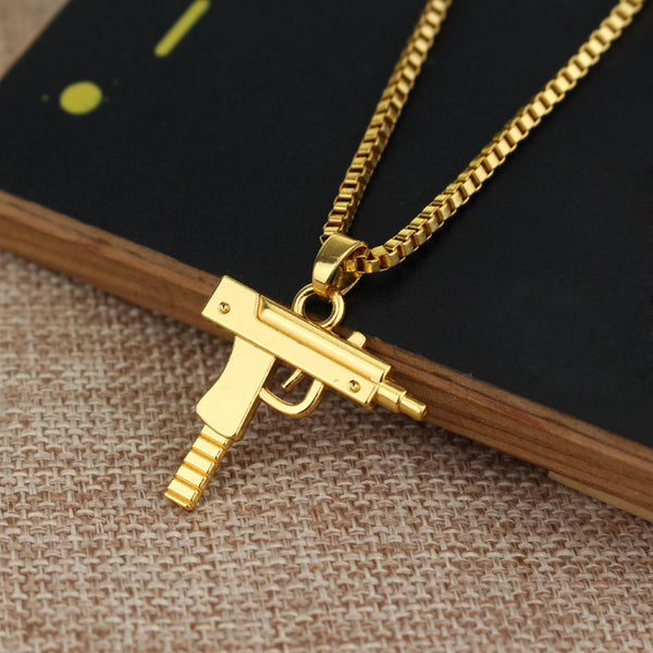 NEW Uzi Gun Golden Pendant and Chain