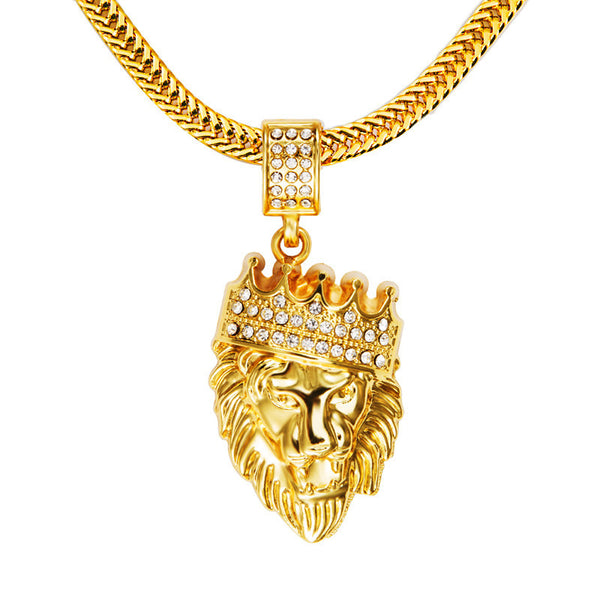 New Iced Out Gold Plated Lion Head Pendant Necklace
