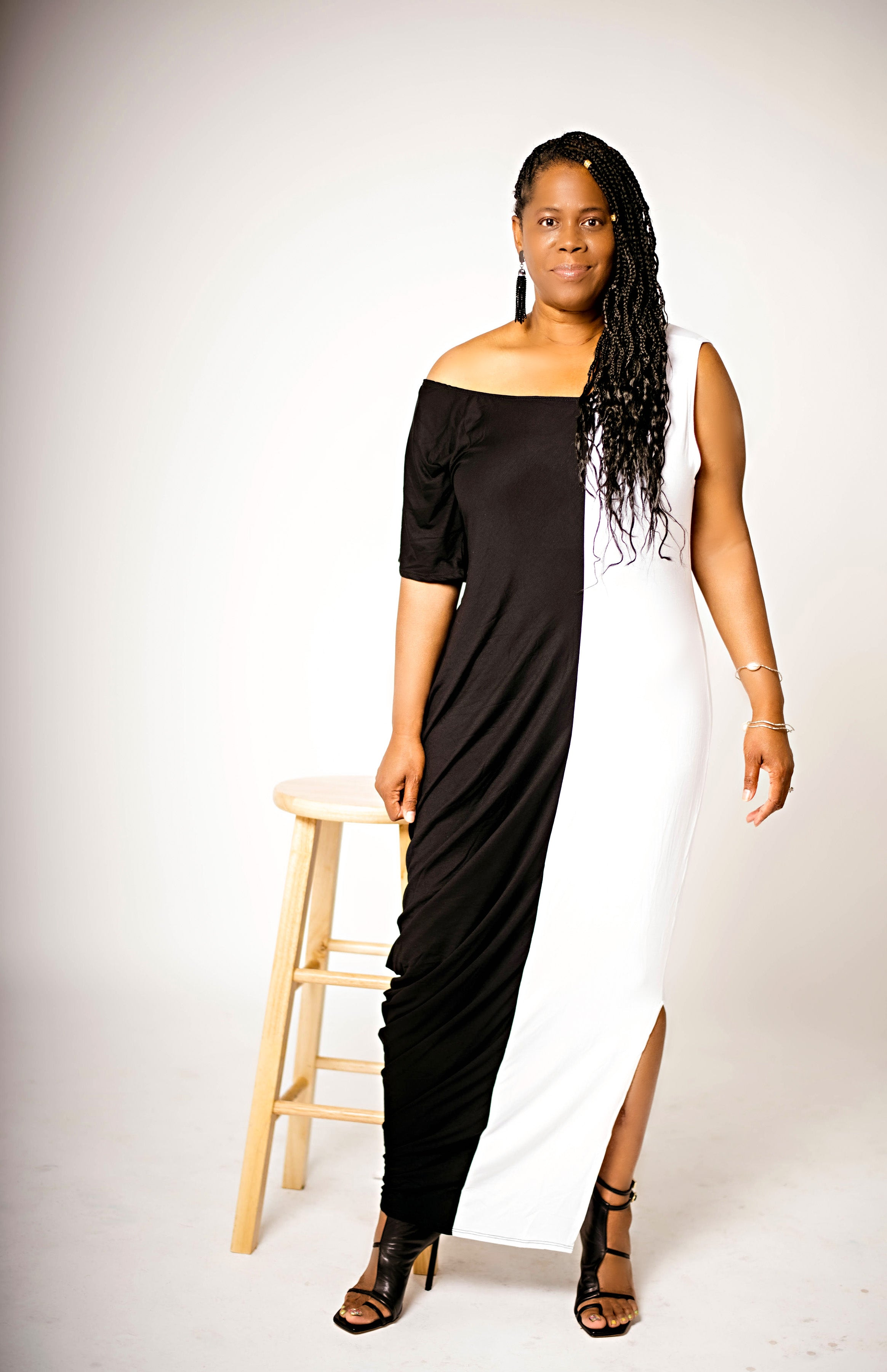 Two Tone Sleeveless Maxi Dress