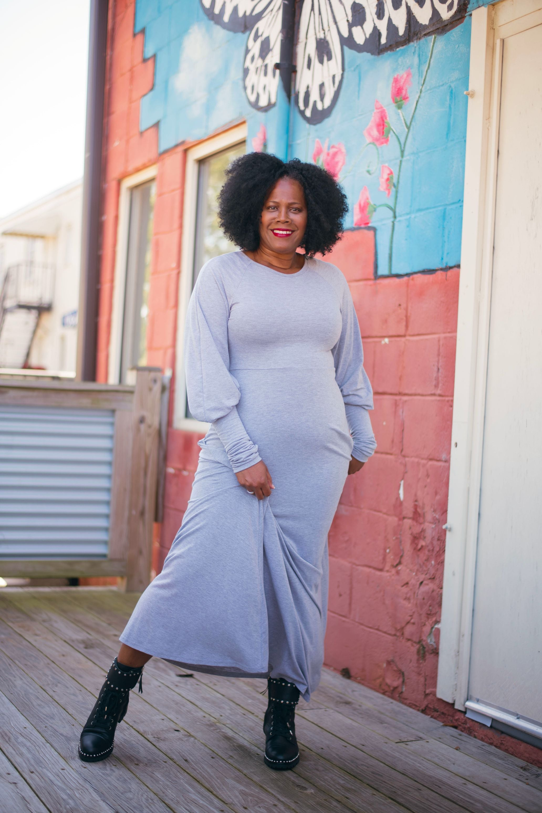 Grey Bubble Sleeve Maxi Dress