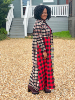 LONG SHIRT DRESS WITH CHECK BLOCK