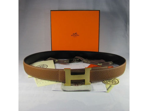 designer h belt u1iw  Hermes Reversible H Gold Buckle Dark Brown Leather Men Belt