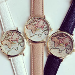 Retro colorful world map wrist watch of the globe with leather bands comes in beige, black, mint green, grey & white!