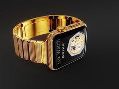 Brikk's Lux Watch Omni 18-karat gold Apple Watch with multiple rows of 11.30 carat diamonds around the face