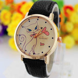 Blue Eyed White Cat With Pink Bow Watch-Aspired Elegance