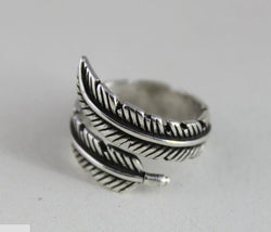 Cute Sterling Silver Feather Ring-Aspired Elegance