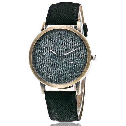 Denim Roman Numeral Watch-Aspired Elegance