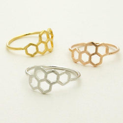 Geometric Hexagon Honeycomb Ring-Aspired Elegance