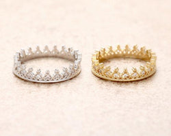Tiny Heart Tiara Ring-Aspired Elegance