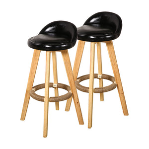 4x Levede Leather Swivel Bar Stool Kitchen Stool Dining Chair Barstools Black