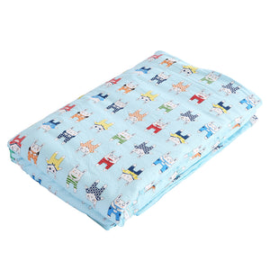 Kids Warm Weighted Blanket Lap Pad Cartoon Print Cover Study At Home Blue