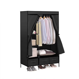 Portable Wardrobe with 3 Drawer Black
