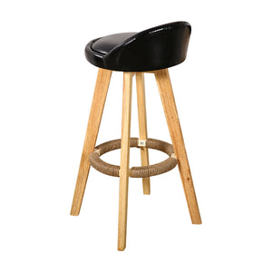 2x Leather Swivel Bar Stool Kitchen Stool Dining Chair Barstools Black