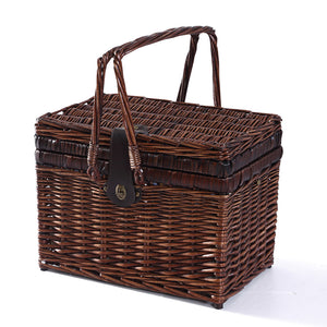 4 Person Picnic Basket Deluxe Baskets Set Outdoor Blanket Deluxe Wicker Gift