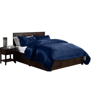 Silk Satin Quilt Duvet Cover Set in King Size in Navy Colour