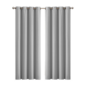 2x Blockout Curtains Panels 3 Layers Eyelet Room Darkening 140x160cm Grey